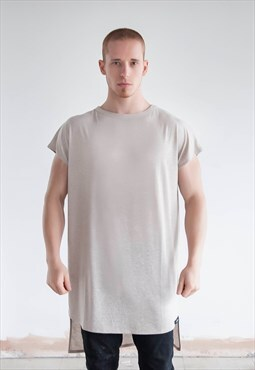 Mens Long Lined Curved Linen
