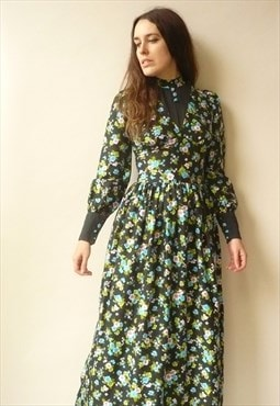 1970s Vintage Floral Victoriana Style Psychedelic Maxi Dress