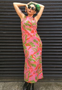 Vintage Psychedellic Maxi Dress With Cut Out Back
