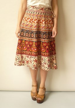Vintage Indian Hippie Woodblock Printed Cotton Wrap Skirt