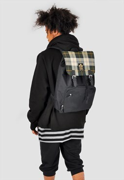 Plaid check panel laptop backpack