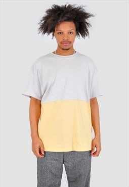 Cream and yellow half half 90s fit Tee