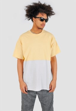 Yellow and cream half half 90s fit Tee