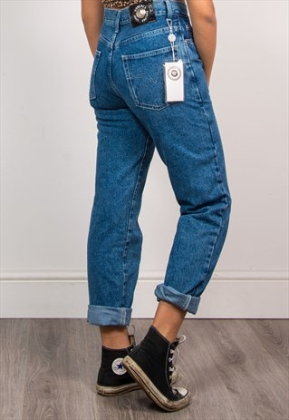VINTAGE 90'S VERSACE BLUE HIGH WAIST MOM JEANS