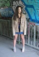 Vintage Tan Leather Bomber Jacket