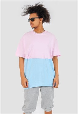 Baby pink and blue half half 90s fit Tee