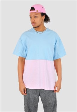 Baby blue and pink half half 90s fit Tee