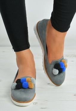 Grey Multi Color Pom Pom Slip On Flat Wedge Ballerina Shoes