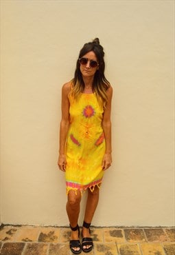 Yellow Tie Dye Hippy  Festival Beach Dress
