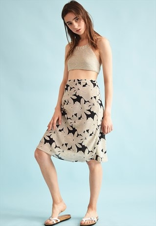 90'S RETRO HIGH WAIST FLORAL PRINT MIDI MOMS SKIRT