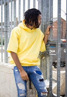 NEW IN - Pastel Yellow Cropped Sleeve Hoodie