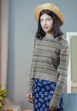 Vintage Knitted Beige Patched Sweater