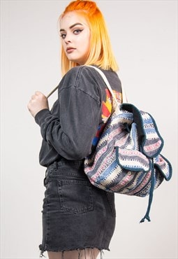 90's Vintage Blue Aztec Pattern Hippie Backpack Rucksack