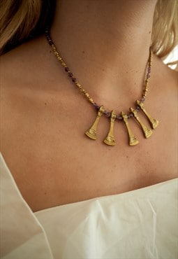 PARADISE Gold Drop and Lilac Bead Necklace