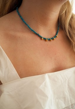 OCEANIA Turquoise and Gold Beaded Necklace