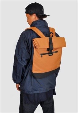 Camel Roll top laptop backpack