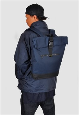 Blue roll top laptop backpack