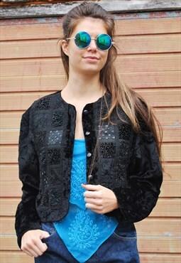 Vintage Black Velvet Boho Festival Jacket