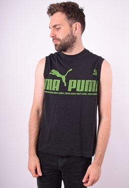 Puma Mens Vintage Vest Top Medium Black 90's