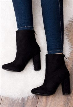 DAIZE Zip Block Heel Ankle Boots Shoes - Black Suede Style