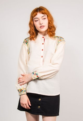 70'S VINTAGE CREAM HIPPIE FESTIVAL EMBROIDERED SUMMER TOP