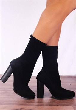 Black Sock Pull Up Ankle Boots High Heels Shoes