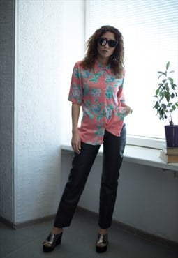 Vintage 80's Pink Flower Print Short Sleeved Shirt