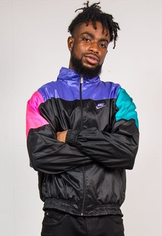 VINTAGE 90'S NIKE BRIGHT COLOURBLOCK TRACKSUIT SHELL JACKET