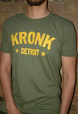KRONK Detroit Stars Vintage Slimfit T Shirt Military Green