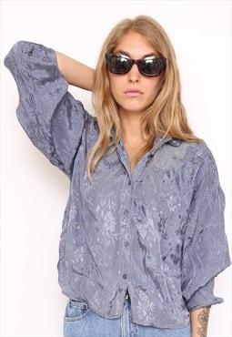 Vintage 80s Blue Metallic Embroidered Shirt
