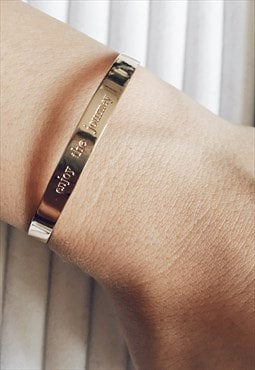 Gold Minimalist ENJOY THE JOURNEY Bangle Bracelet