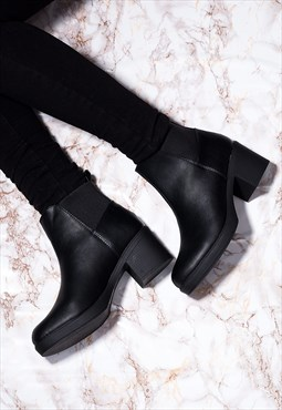 POPCORN Block Heel Chelsea Ankle Boots - Black Leather Style