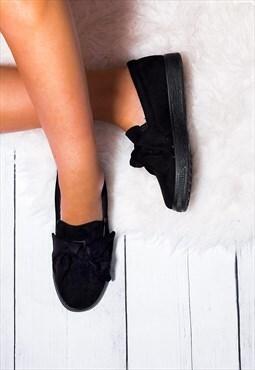 KEFIR Platform Bow Flat Loafer Shoes - Black Suede Style