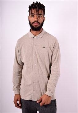 Lacoste Mens Vintage Shirt Large Beige 90's