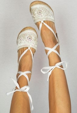 Vintage White Sequin Beaded Lace Up Jute Wedge Espadrilles