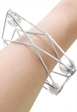 Silver Cubist Geometric Pearl Statement Bangle