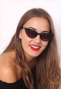 Black Retro Thin Cat Eye Sunglasses