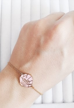 Gold Minimalist Pink Love Sea Shell Bracelet