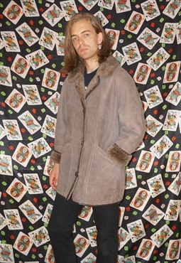 Vintage 80's Brown Shearling Sheepskin Coat