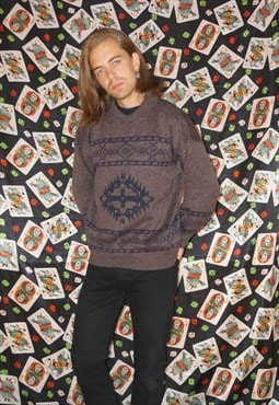 Vintage 70's Aztec Style Patterned Wool Jumper