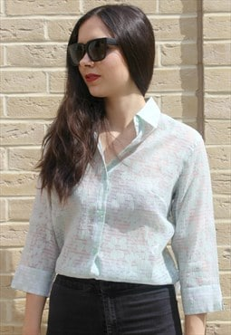 Vintage 80's Sheer Shirt Blouse Mint Green