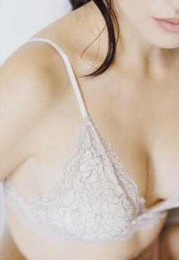Nude Lace Bralette / Lace Lingerie / Padded Bralette / Bra