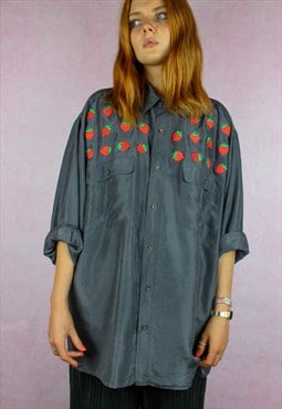 Unisex Grey Silk Vintage Shirt with Embroidered Strawberries