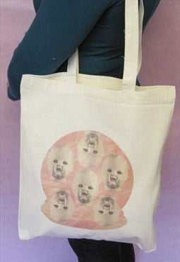 Creepy Doll Head Tote Bag