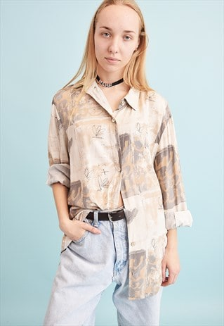 90'S RETRO NEUTRAL ABSTRACT PRINT OVERSIZED DADS SHIRT TOP