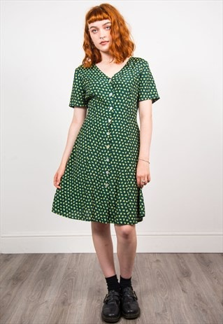 VINTAGE 90'S GREEN FLORAL PATTERN DRESS