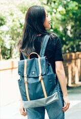 Urban Backpack/Rucksack/Canvas/Italy Leather - Blue