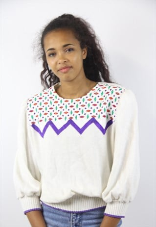 VINTAGE FUN PATTERNED CREAM JUMPER