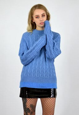 Vintage Blue Cable Knit Jumper