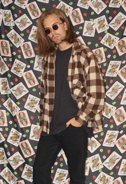 Vintage 70's Thick Wool Brown/Cream Checked Shirt